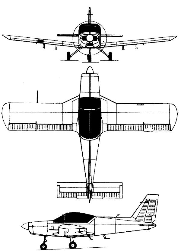 Plan 3 vues du Valmet L-70 Vinka