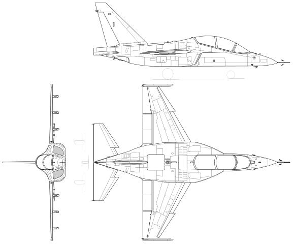 Plan 3 vues du Yakovlev Yak-130 'Mitten'