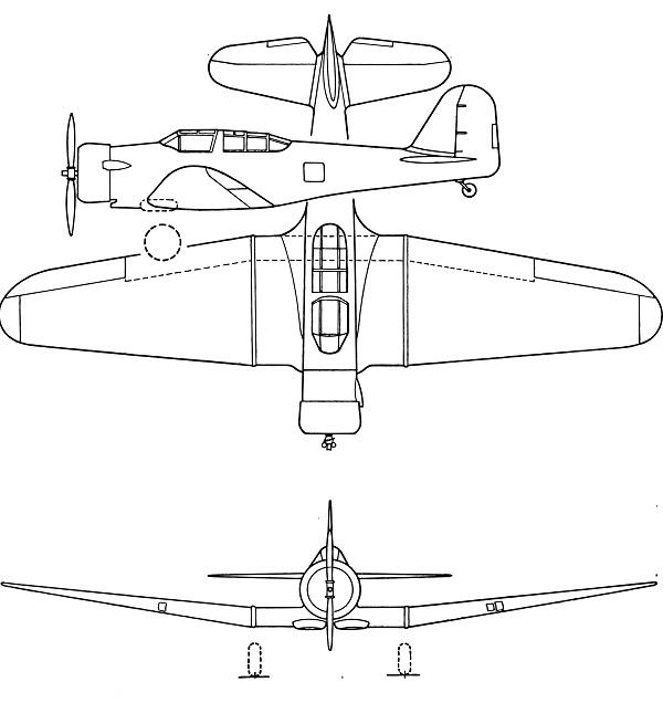 Plan 3 vues du Northrop A-17 Nomad