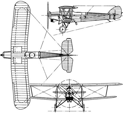 Plan 3 vues du Hawker Horsley