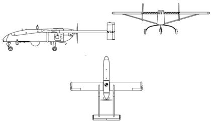 Plan 3 vues du AAI RQ-2 Pioneer