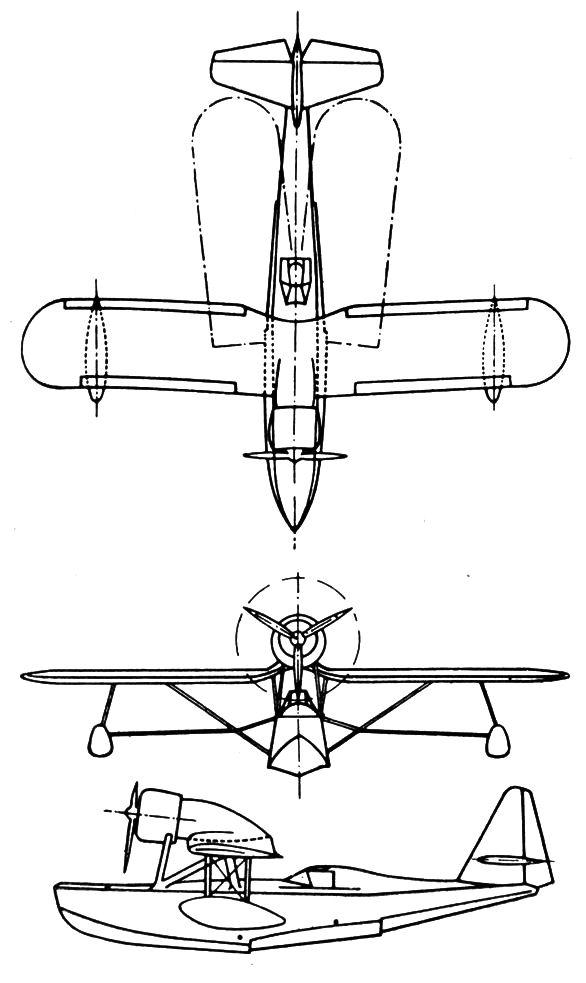 Plan 3 vues du Potez 452