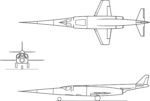 Plan 3 vues du Douglas X-3 Stiletto