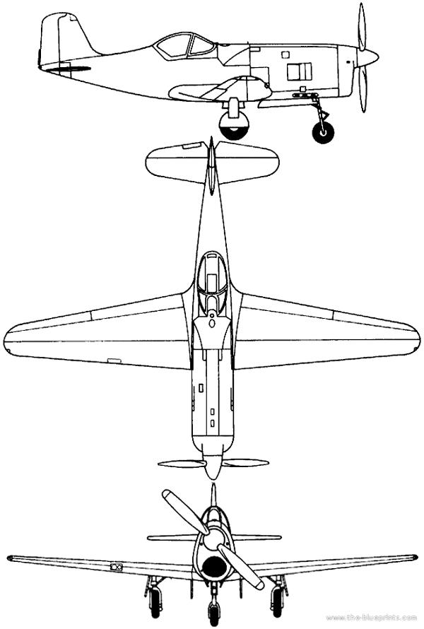 Plan 3 vues du Bell XP-77
