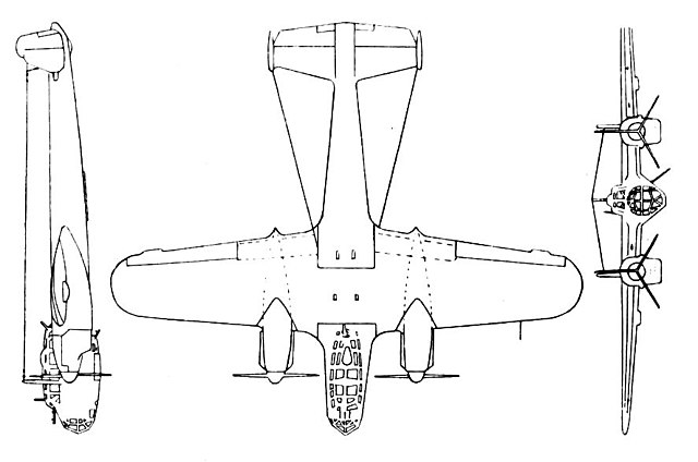 Plan 3 vues du Dornier Do 215