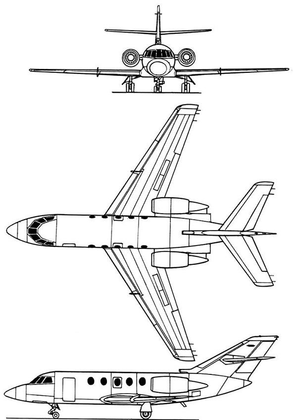 Plan 3 vues du Dassault-Breguet Gardian