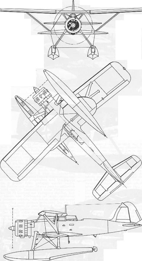 Plan 3 vues du Heinkel He 114