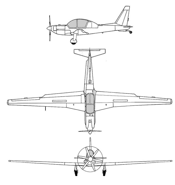 Plan 3 vues du Lockheed YO-3 Quiet Star