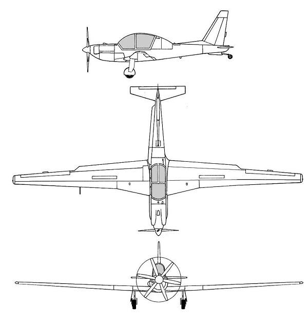 Plan 3 vues du Lockheed YO-3 Quiet Star