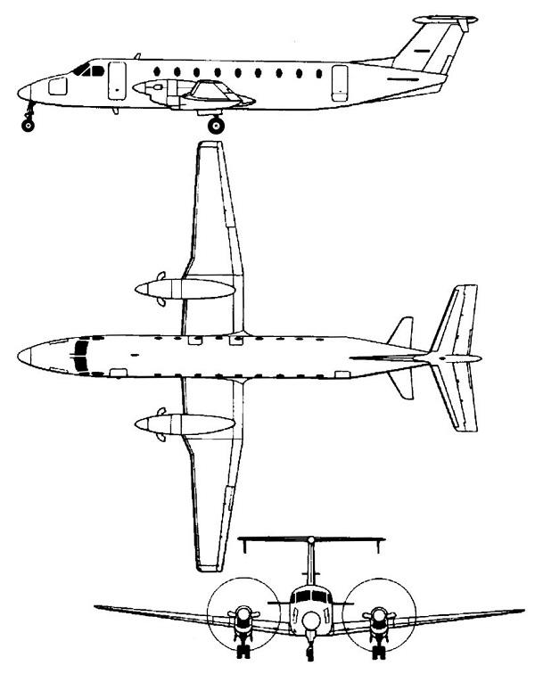 Plan 3 vues du Beechcraft 1900 Beechliner