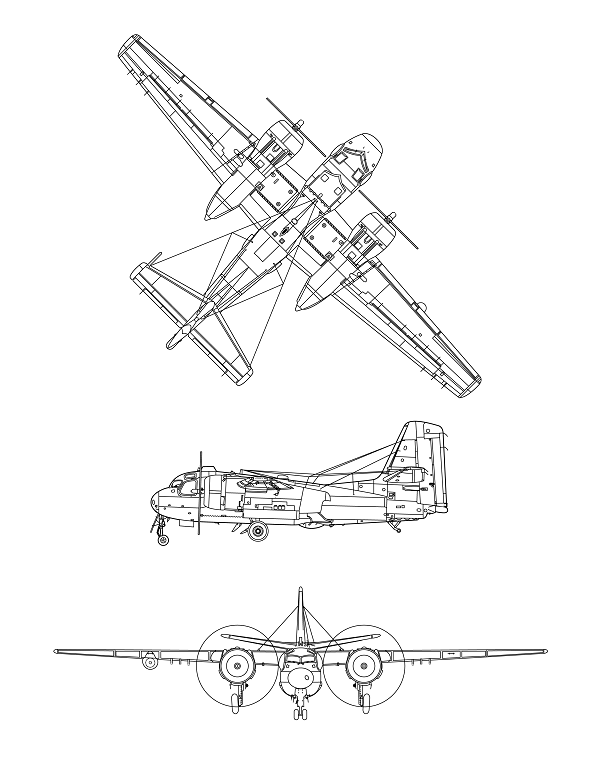 Plan 3 vues du De Havilland Canada CS2F Tracker