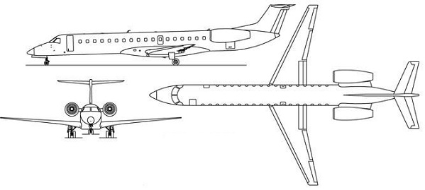 Plan 3 vues du Embraer ERJ135 / ERJ140 / ERJ145