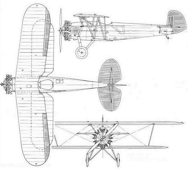 Plan 3 vues du Boeing F3B