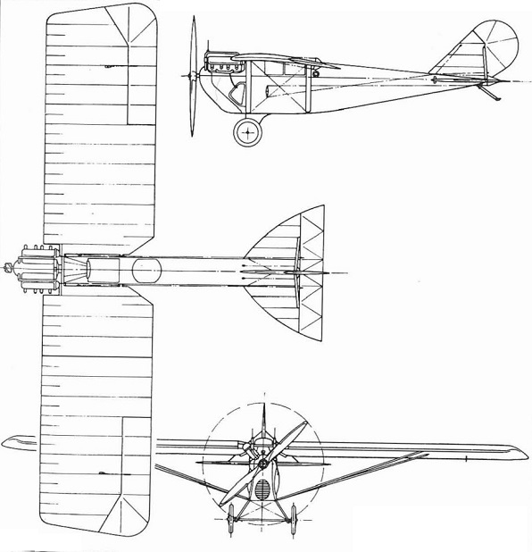 Plan 3 vues du Loening M-8 Kitten