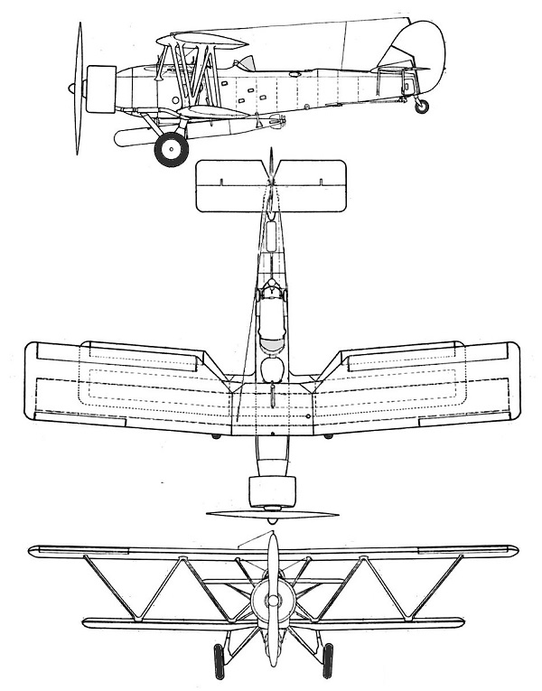 Plan 3 vues du Blackburn B-6 Shark