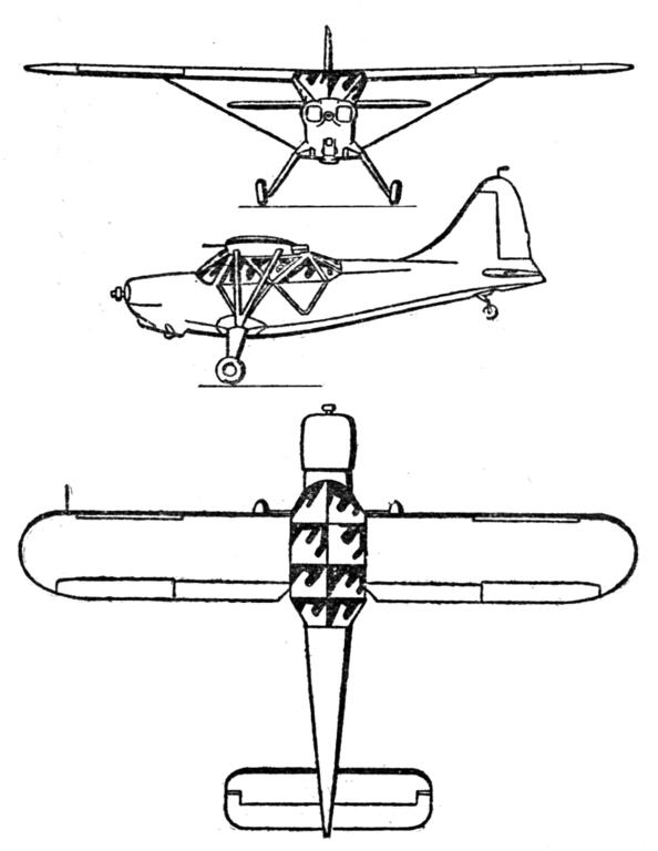 Plan 3 vues du Stinson L-5 Sentinel
