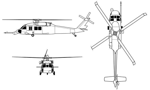 Plan 3 vues du Sikorsky HH-60 Pavehawk