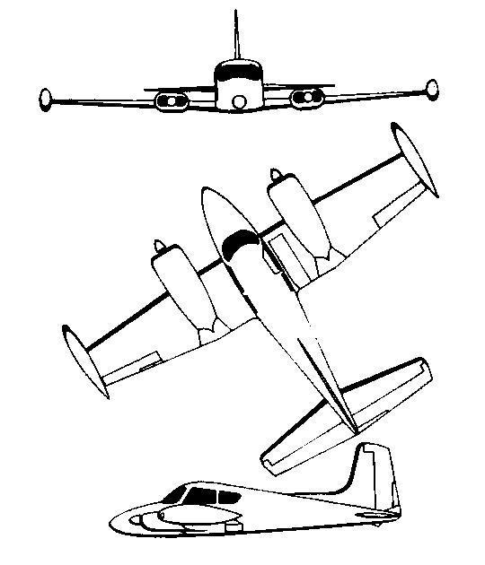 Plan 3 vues du Cessna U-3 Blue Canoe