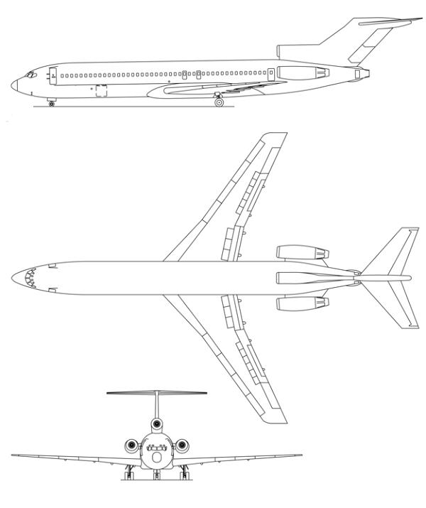 Plan 3 vues du Boeing C-22