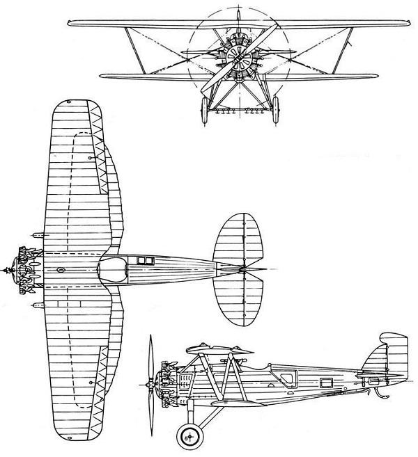 Plan 3 vues du Boeing F2B