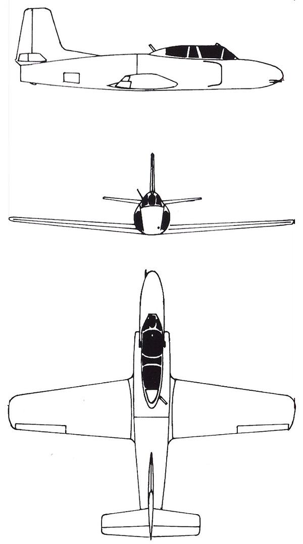 Plan 3 vues du Shenyang JJ-1