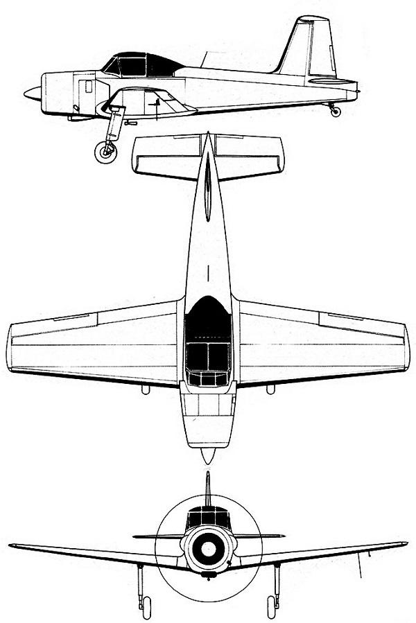Plan 3 vues du Percival P-56 Provost