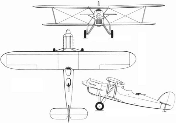 Plan 3 vues du Aero A.100 / A.101