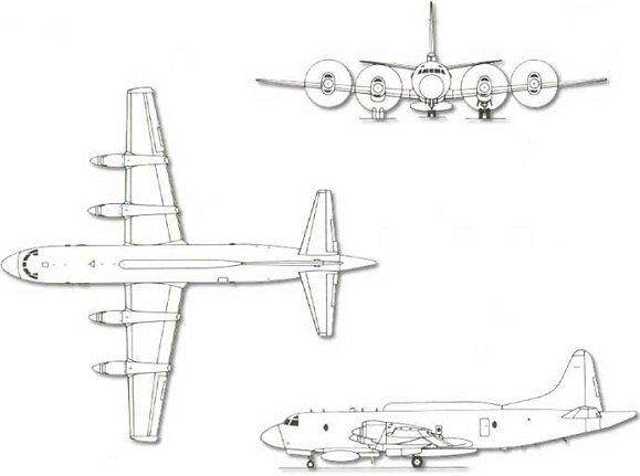 Plan 3 vues du Lockheed EP-3 Aries