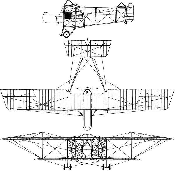 Plan 3 vues du Farman F.40 Horace