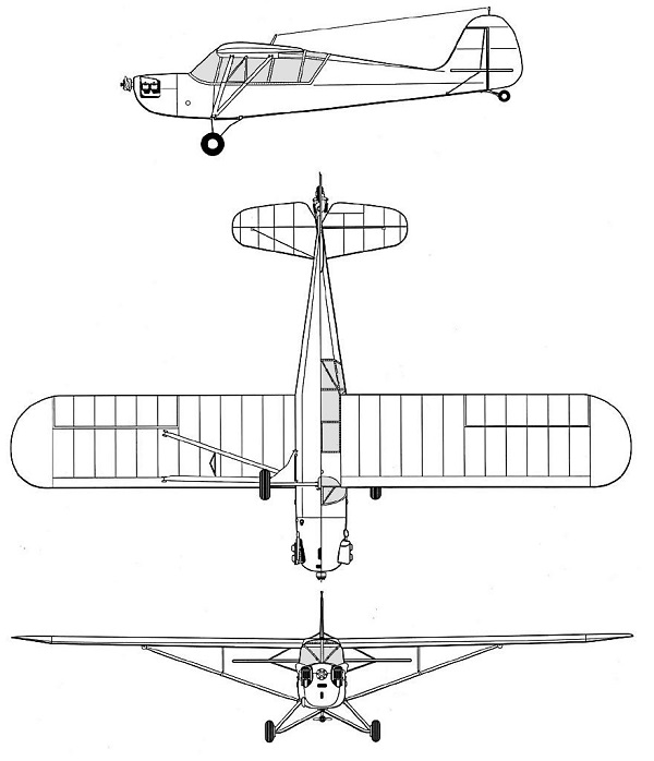 Plan 3 vues du Aeronca L-3 Grasshopper