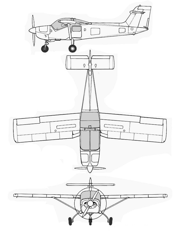 Plan 3 vues du Saab MFI-15 Safari / MFI-17 Supporter
