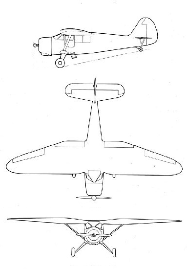Plan 3 vues du Stinson AT-19 / UC-81 Reliant