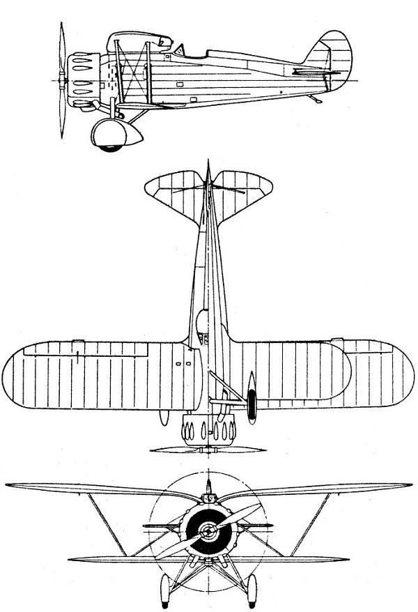 Plan 3 vues du Meridionali Ro.41