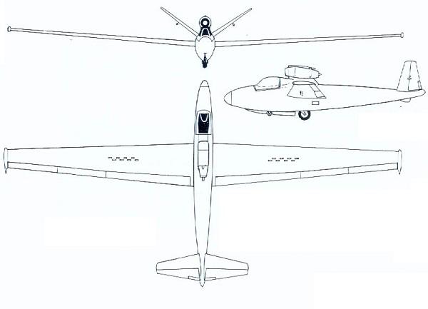 Plan 3 vues du Fouga CM.8 Cyclone