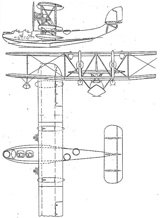 Plan 3 vues du Supermarine Southampton