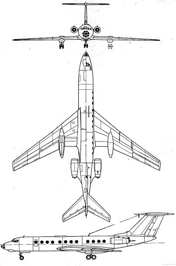 Plan 3 vues du Tupolev Tu-134 'Crusty'