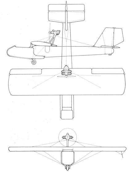 Plan 3 vues du Goodyear XAO-3 Inflatoplane
