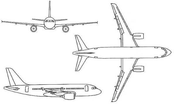 Plan 3 vues du Airbus A319CJ
