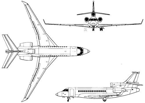 Plan 3 vues du Dassault Aviation Falcon 7X