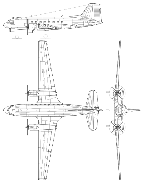 Plan 3 vues du Ilyushin Il-14 'Crate'