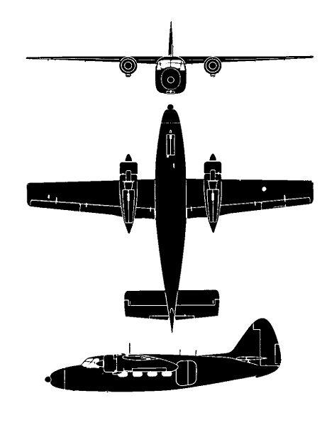 Plan 3 vues du Percival P-50 Prince / P-57 Sea Prince