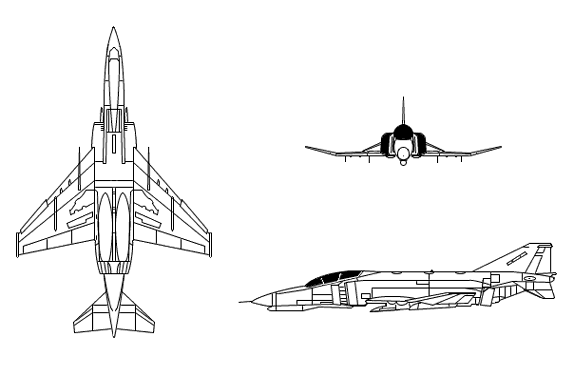 Plan 3 vues du McDonnell-Douglas F-4G Wild Weasel