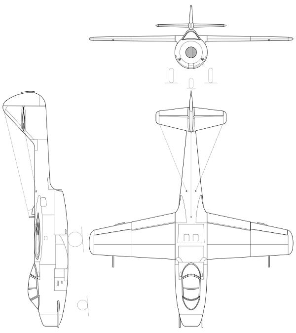 Plan 3 vues du Lavotchkin La-150