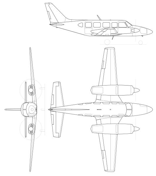 Plan 3 vues du Piper PA-31 Navajo