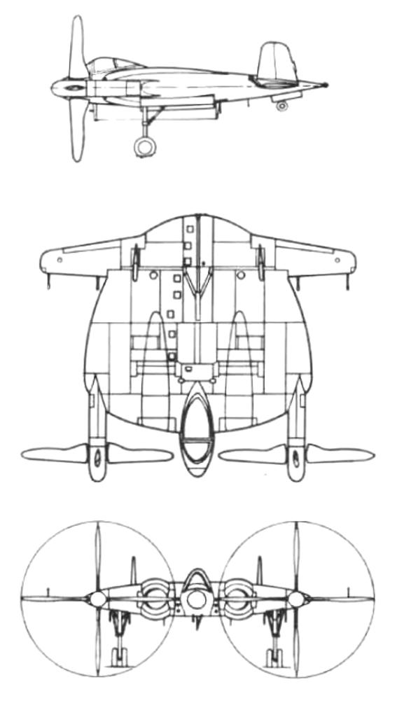 Plan 3 vues du Vought XF5U
