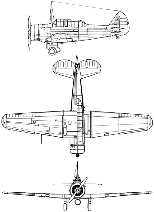 Plan 3 vues du North American BT-9