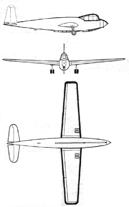 Plan 3 vues du General Aircraft G.A.L. 48 Hotspur