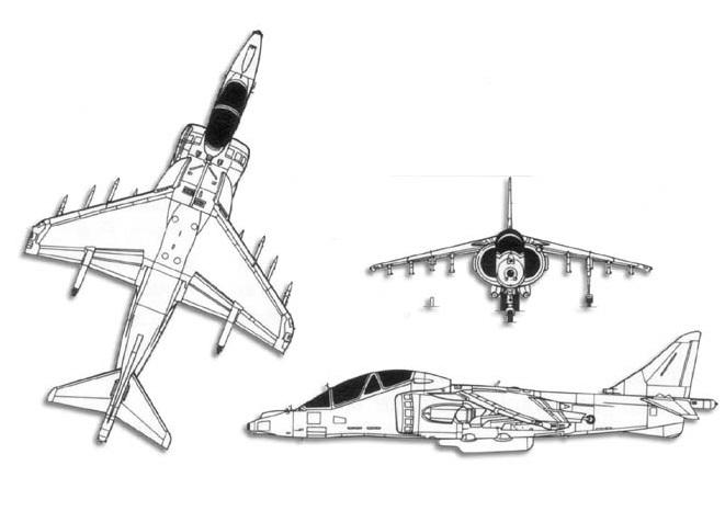 Plan 3 vues du McDonnell-Douglas TAV-8B Harrier II