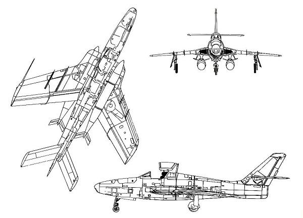 Plan 3 vues du Republic RF-84 Thunderflash