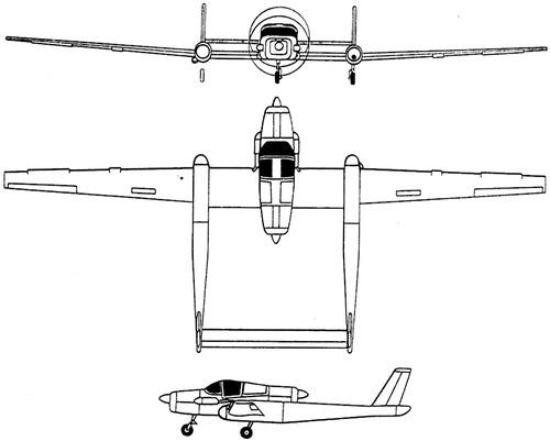 Plan 3 vues du Schweizer RU-38 Twin Condor
